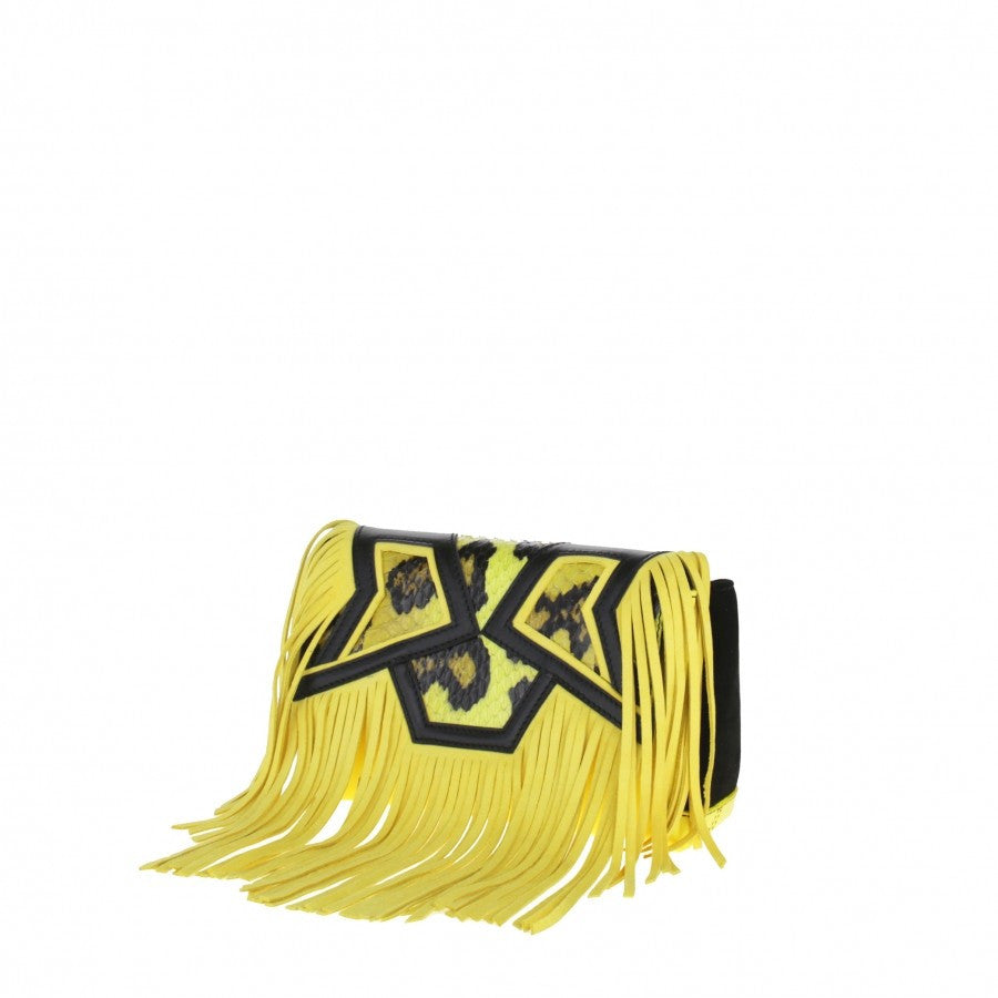 Yellow leather bag Baby fringes Gordana Dimitrijevic
