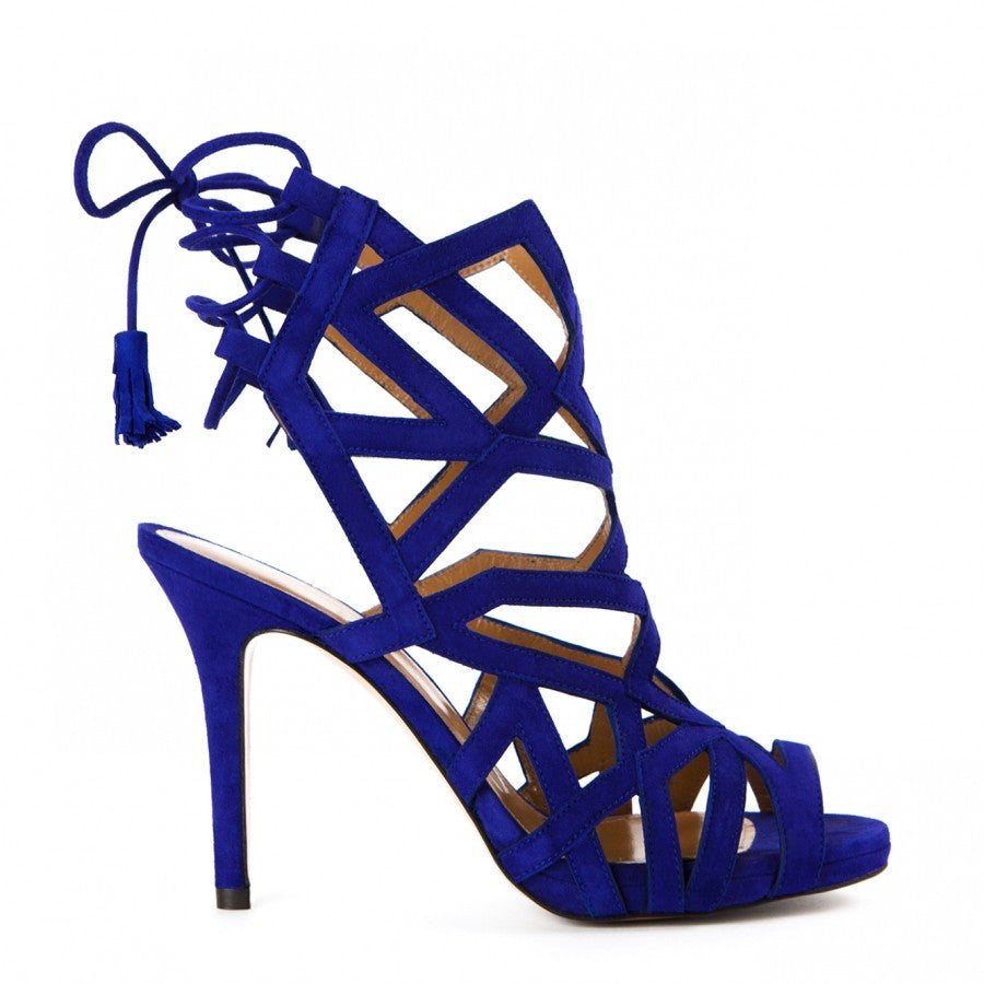 Cord-embossed cage straps corset blue sandals Dalida