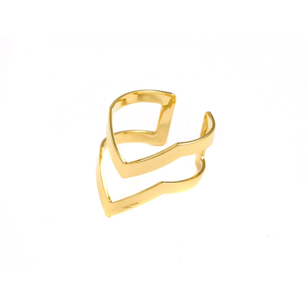 Yell Gold Ring Double Azucar Bijoux - Azucar Bijoux