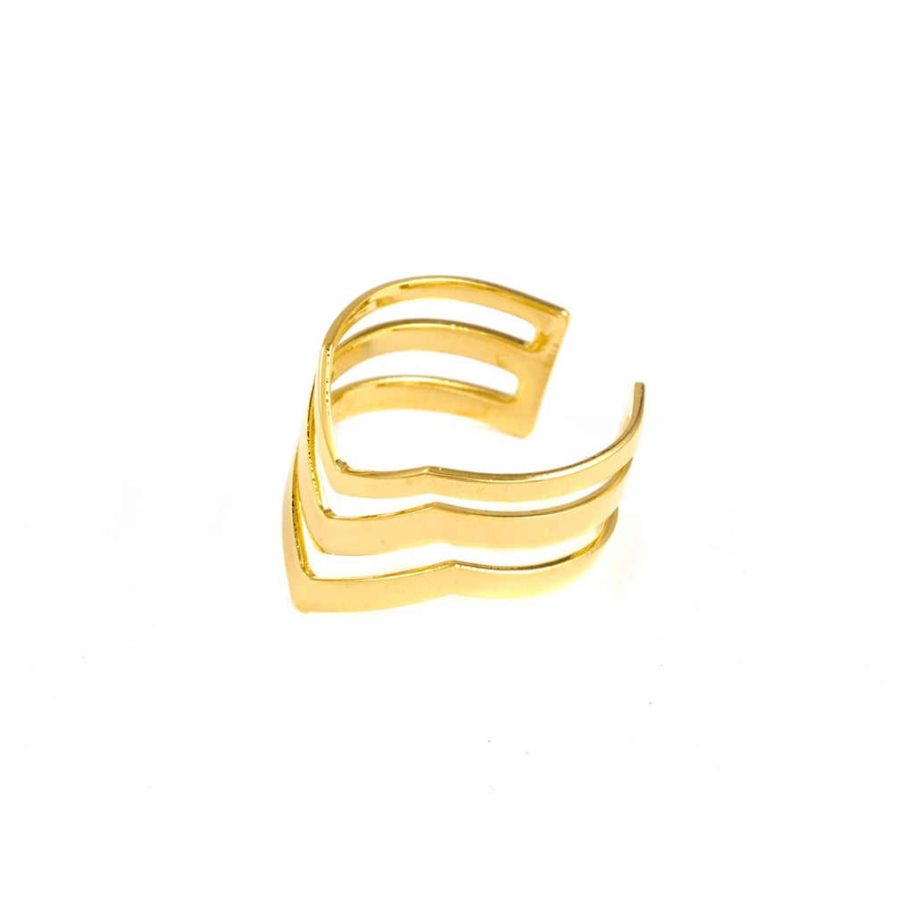 Yell Gold Ring Triple Azucar Bijoux