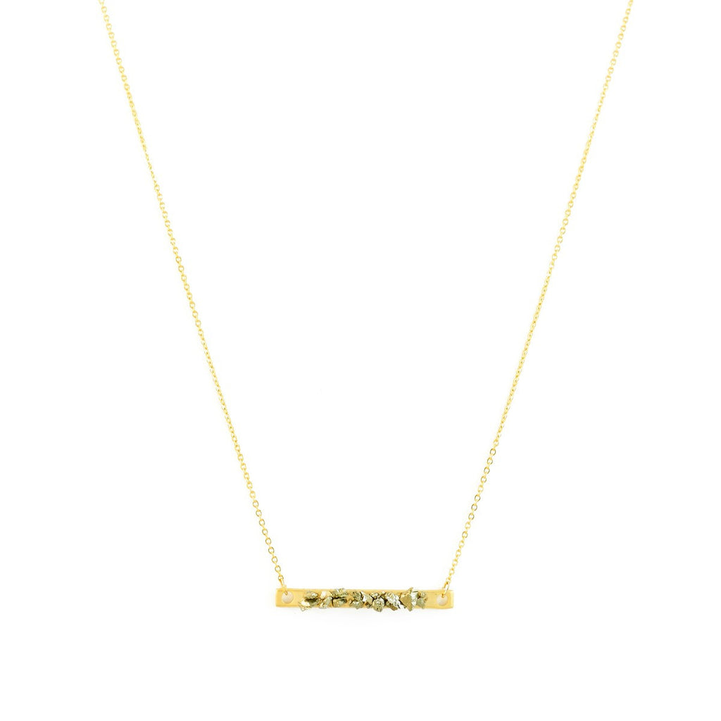 Thin gold plated Necklace Pyrite Bar Azucar Bijoux - Azucar Bijoux