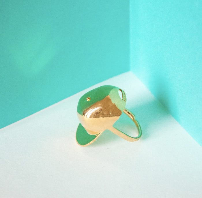 Polished Gold Cap Ring