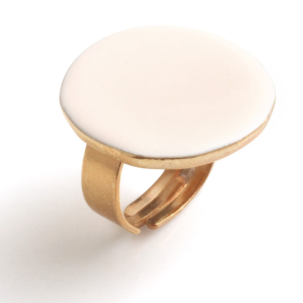 Round beige ring - Little Woman Paris