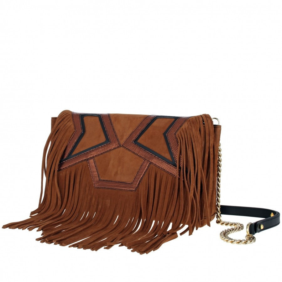 Women's Shoulder Handbag Camel with fringes Enki by Gordana Dimitrijevic
