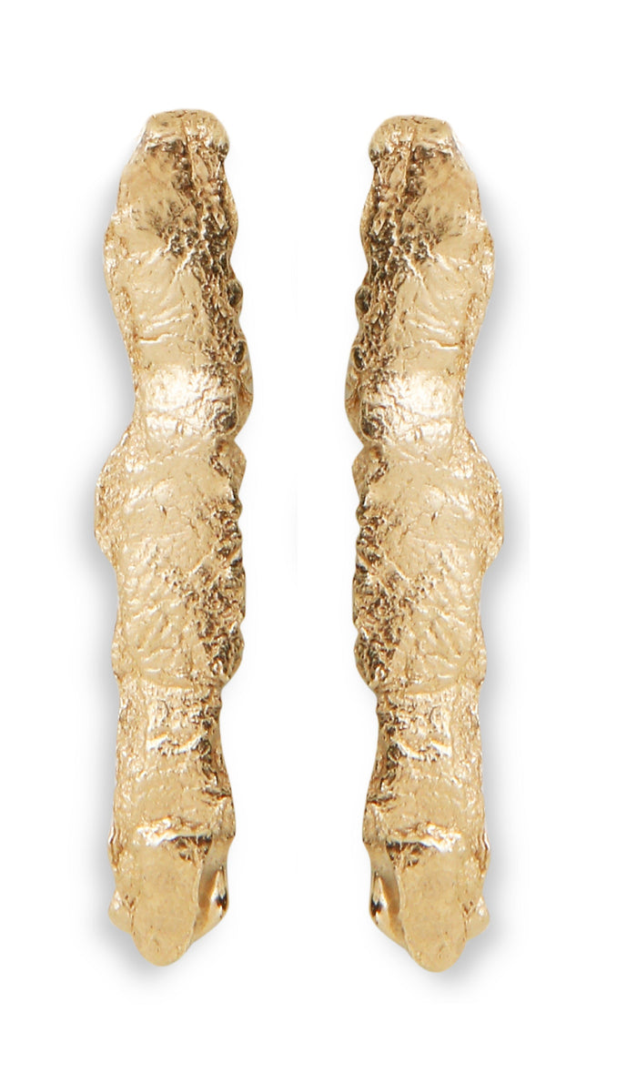 Gold Plated Fragement Long Earrings by Marion Fillancq