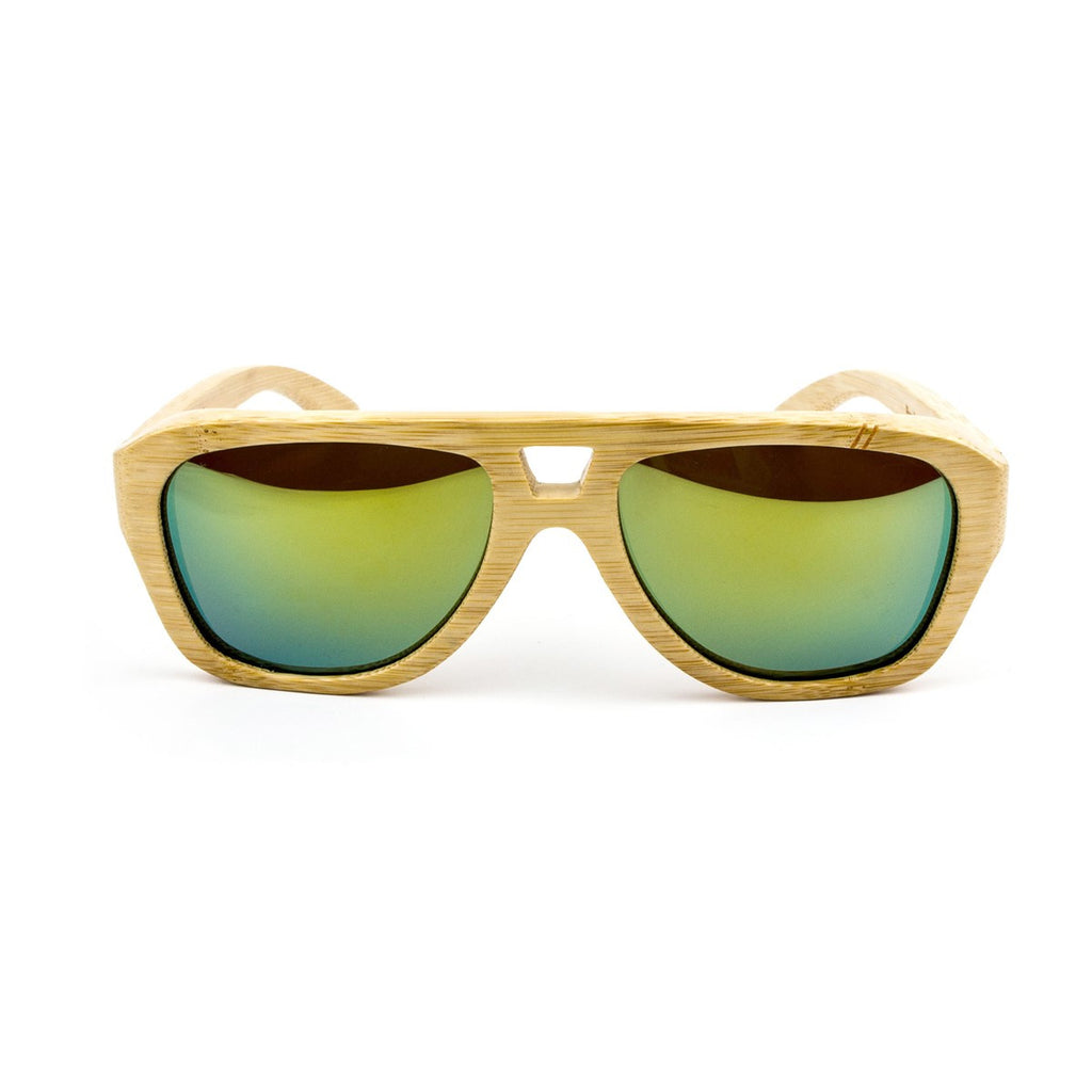 Wooden sunglasses Wood Bamboo Gold Mirror Coastal - Ozed.