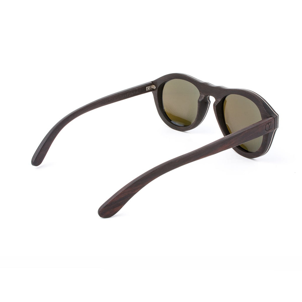 Wooden sunglasses Wood Ebony Blue Mirrow Double Zero - Ozed.