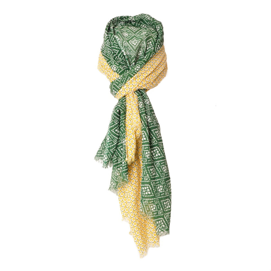 Mens Maxi Green and Yellow Print Cotton Scarf Copacabana - Monsieur Charli