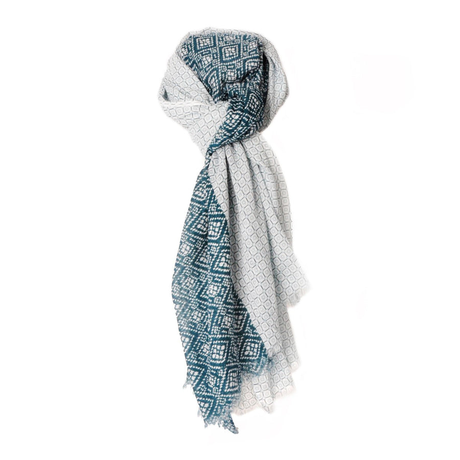 Men Maxi Print Cotton Scarf White and Blue Brooklyn - Monsieur Charli