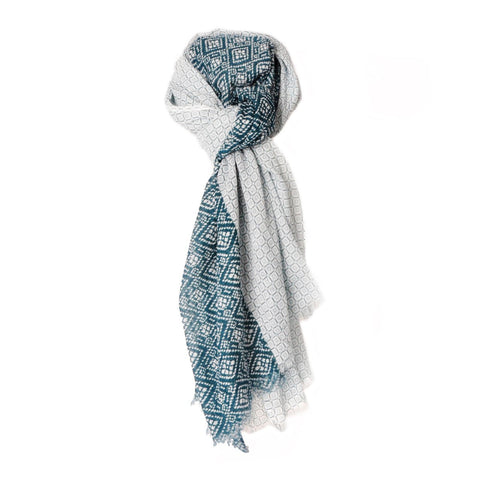 Men Maxi Print Cotton Scarf White and Blue Brooklyn