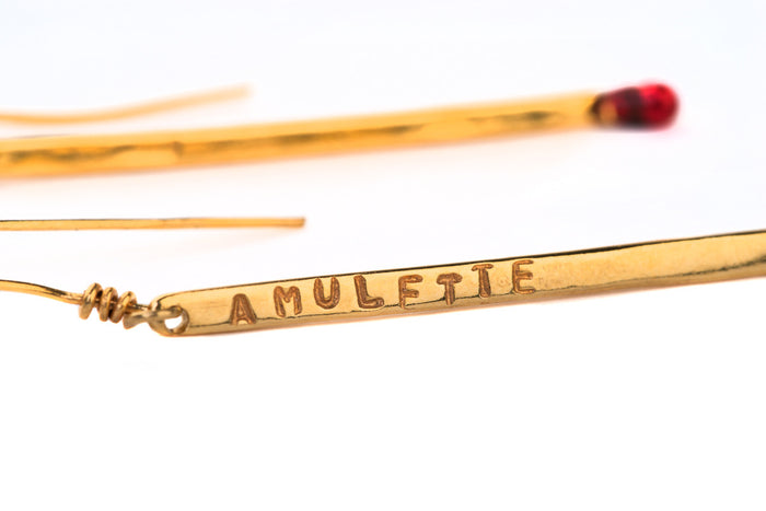 Long Golden Earrings Amulette Dormeuse Alice Hubert