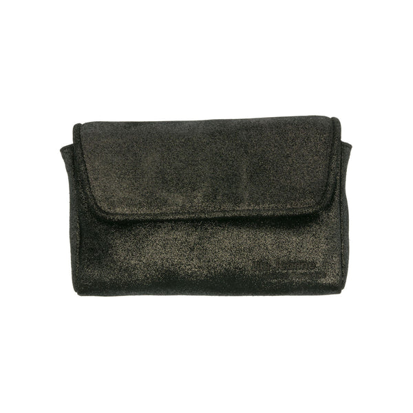 Black Sequin Leather Clutch Anna Lila Jeanne