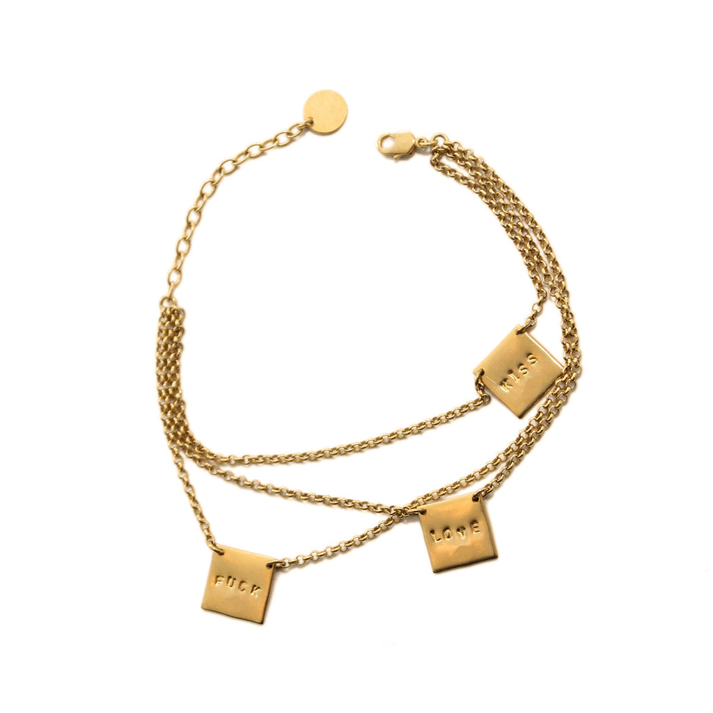 Handmade Gold Bracelet Kiss Love F*** Alice Hubert - Alice Hubert