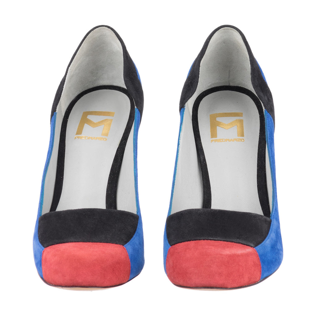 Blue & Red Goat Leather Pumps Charlotte Fred Marzo - Fred Marzo