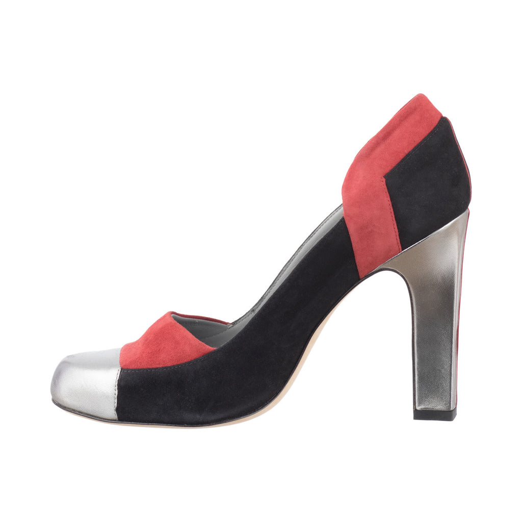 Silver Red Goat Leather Pumps Charlotte Fred Marzo - Fred Marzo