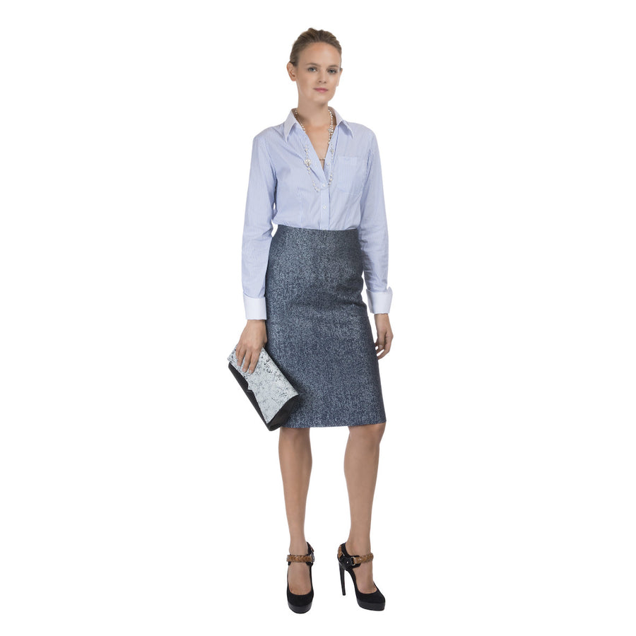 High waist Indigo Pencil Skirt Constance Boutet - Constance Boutet
