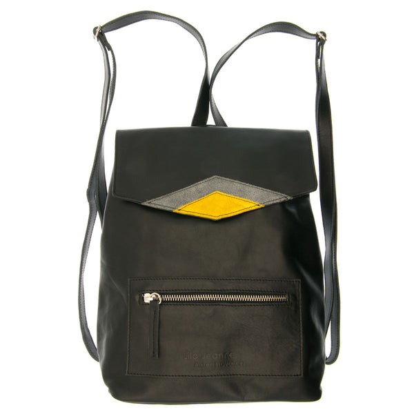 Black Leather Backpack Dora Lila Jeanne