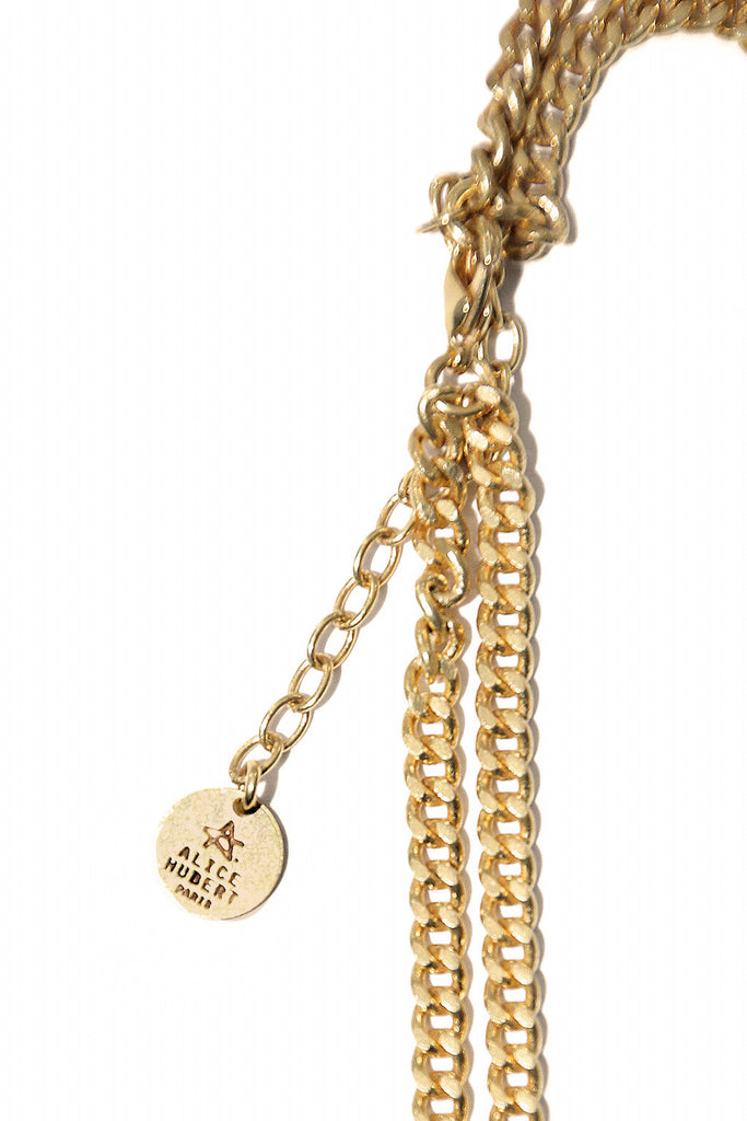 Handmade Gold Double Chain Panther necklace Jungle - Alice Hubert