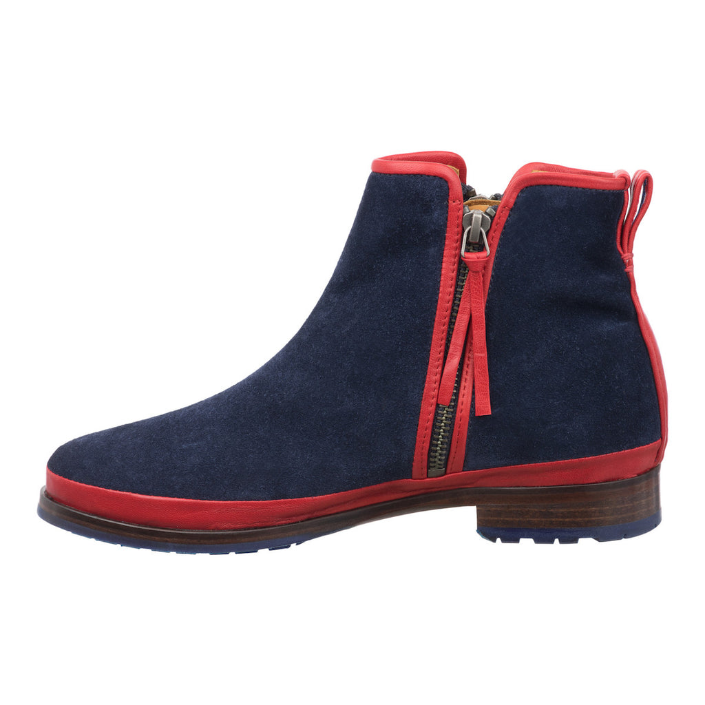 Women blue low flat leather boots Jour Ferie Paris - Jour Ferie Paris