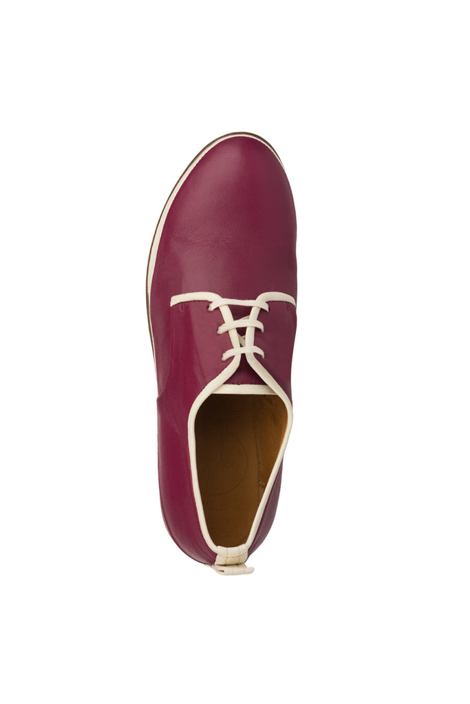 Women Fuchsia leather derby Johane Jour Ferie Paris - Jour Ferie Paris