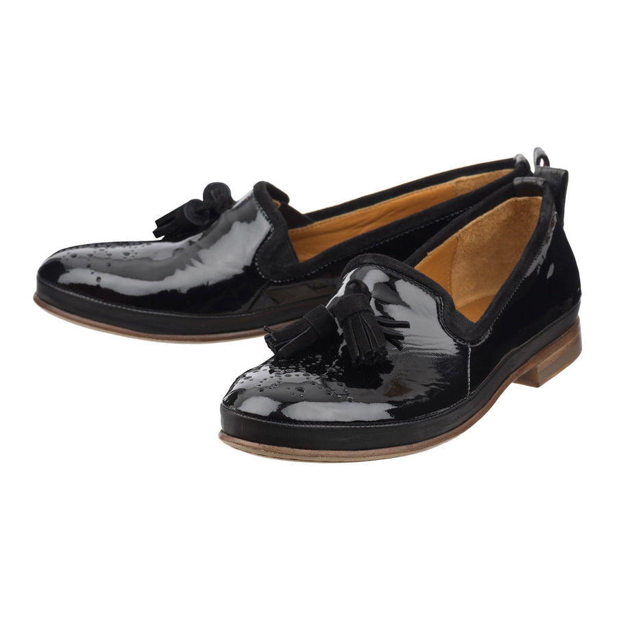 Women black glossy loafers Jacques Jour Ferie Paris - Jour Ferie Paris