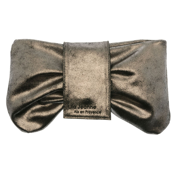 Grey Sequin Leather Clutch Inserts Juliette