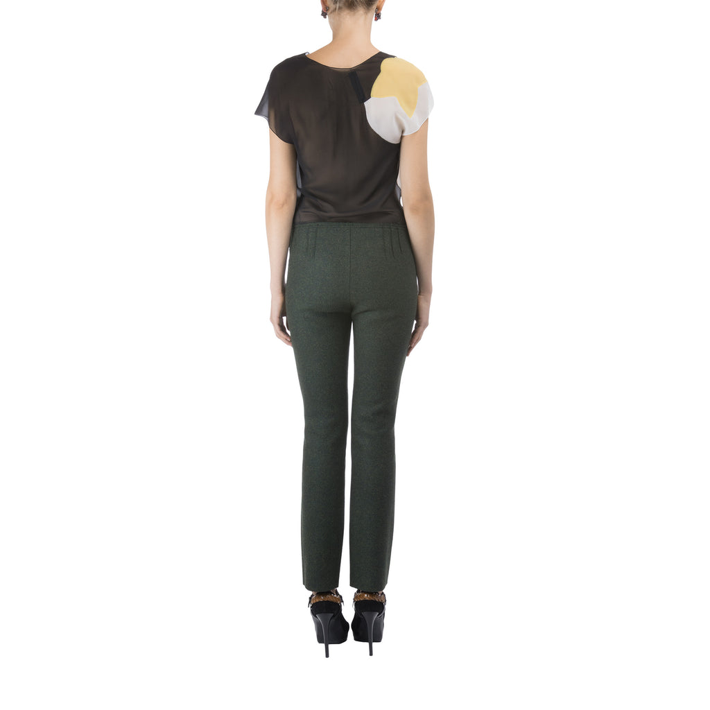 Women Green Wool Straight Pants Lea Peckre - Lea Peckre