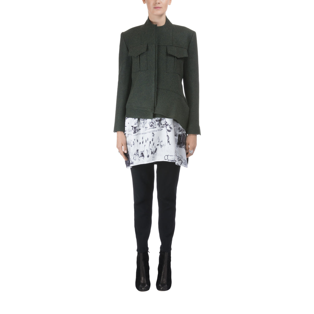 Women Green Wool Biker Jacket Lea Peckre - Lea Peckre
