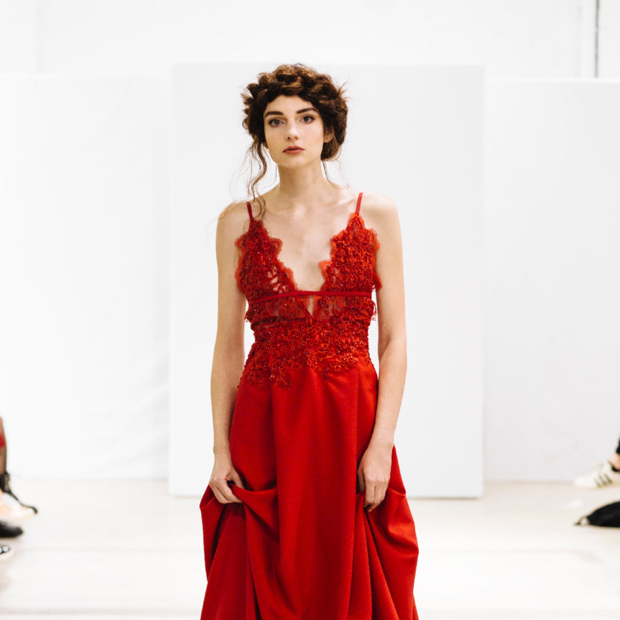 Embroidered Red Cocktail Dress Laura Laval Paris