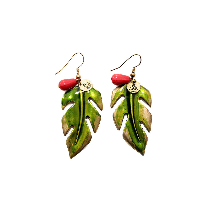 Handmade Green Gold Leaf Earrings Jungle Alice Hubert - Alice Hubert