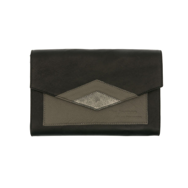 Black Sequin Leather Clutch Grey Inserts Leonie
