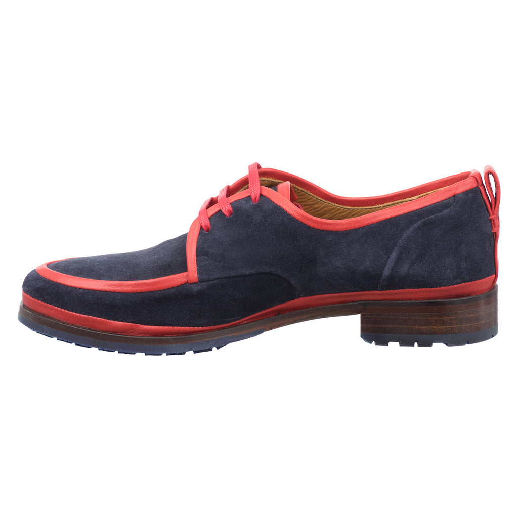 Women Navy Blue Suede Derby Jour Ferie Paris - Jour Ferie Paris