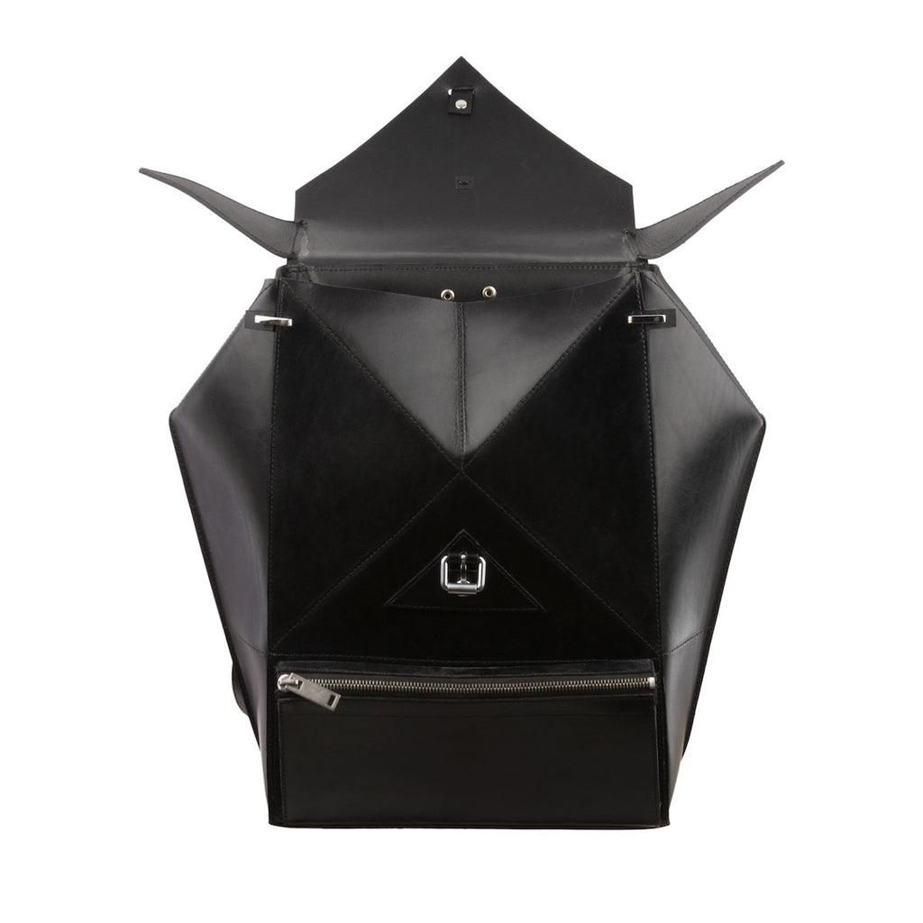Hexane Black Leather Luxury Backpack Nicolas Theil - Nicolas Theil
