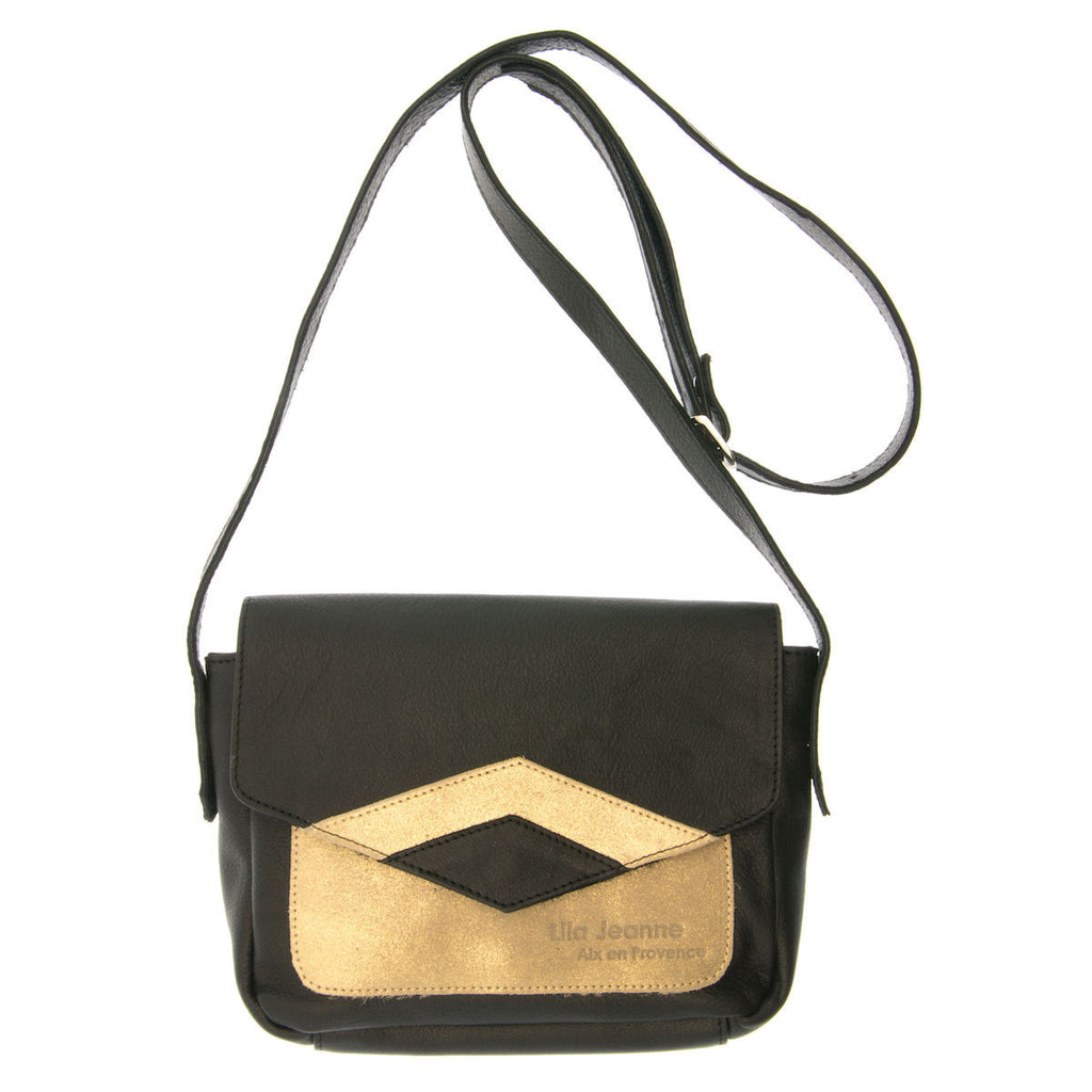 Black Handbag with Gold Leather Inserts Naia Lila Jeanne
