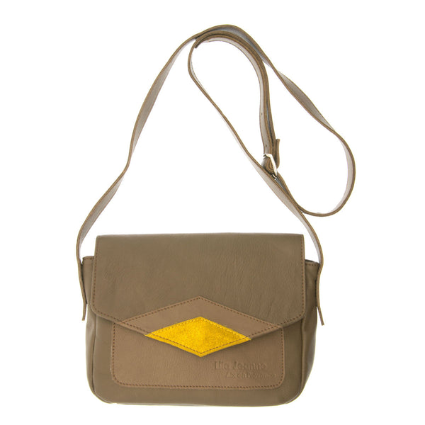 Khaki Handbag with Yellow Leather Insert Naia Lila Jeanne