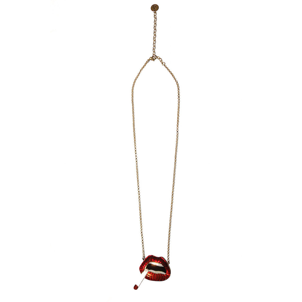 Alice Hubert Gold Necklace Red Lips La Fumeuse - Alice Hubert