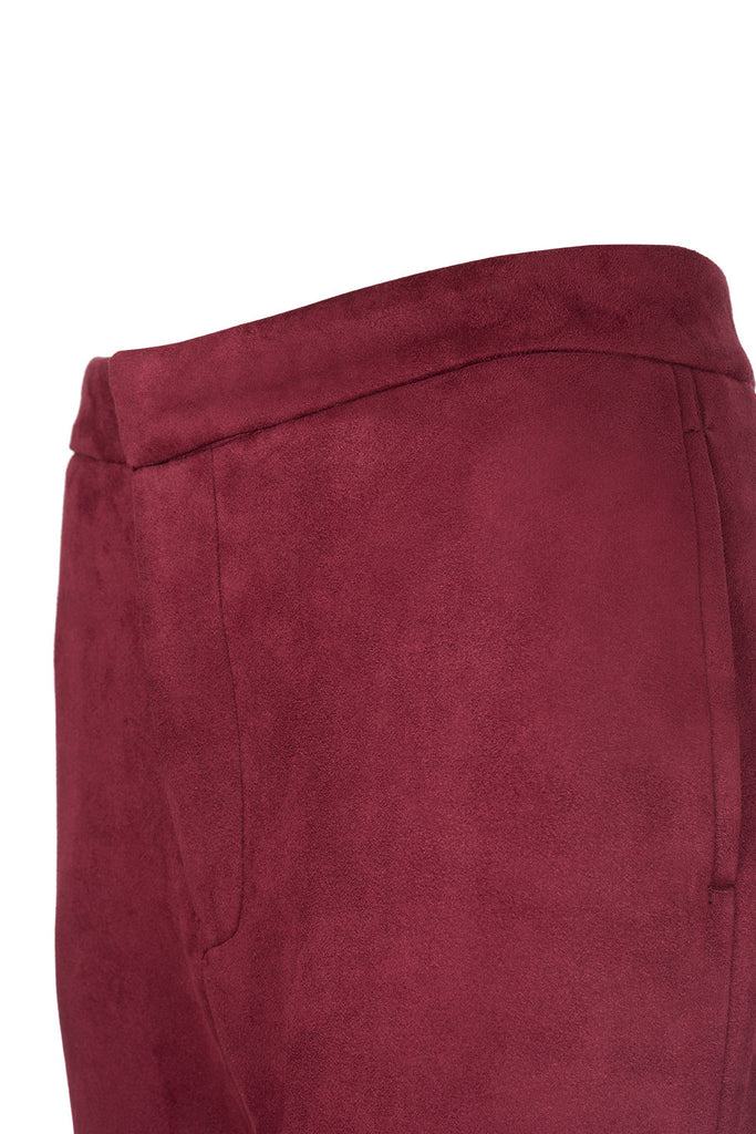 Women High Waisted Pants in Burgundy Neopren Chicago Floriane Fosso
