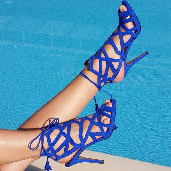 Women's blue cage sandals with laces Dalida by Gordana Dimitrijevic