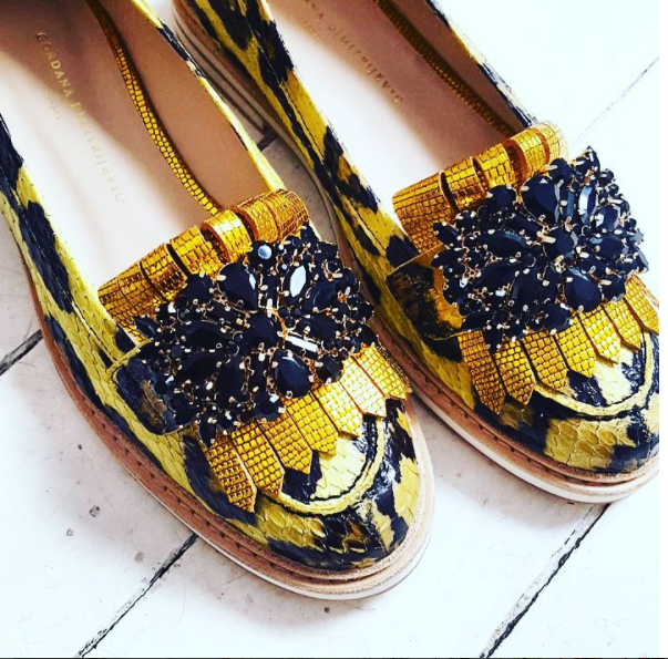 Yellow Python Women's Loafers With Black Crystals by Gordana Dimitrijevic