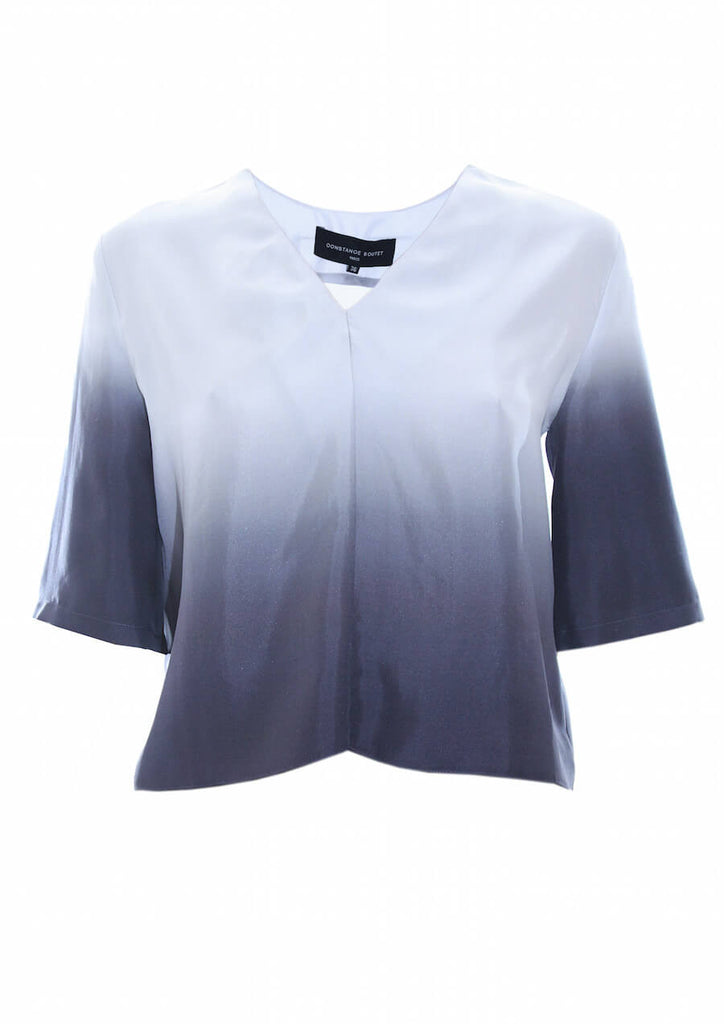 Silk bicolored cropped top - Constance Boutet