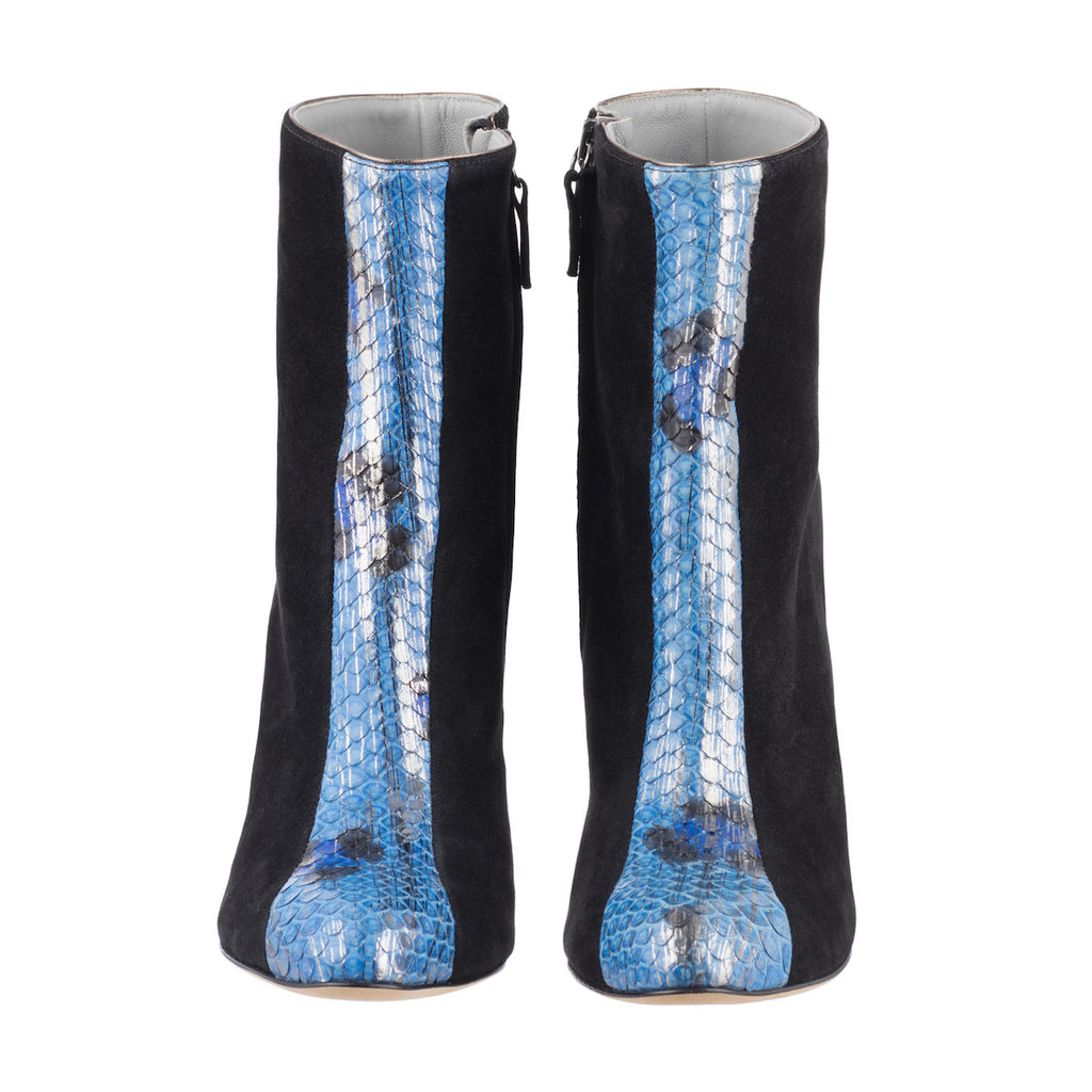 Black suede high boots with Blue Python insert Titop Fred Marzo - Fred Marzo