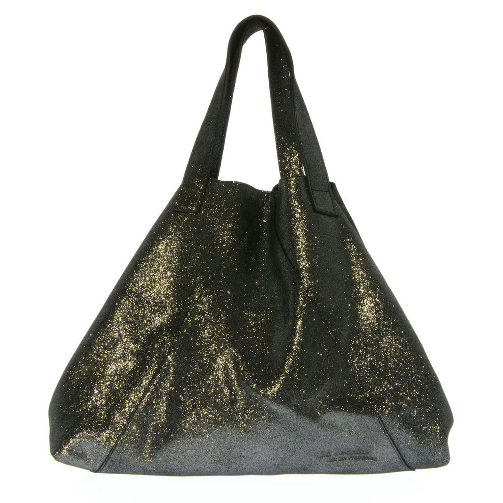 Black Metallic Leather Tote Bag Vanessa Lila Jeanne