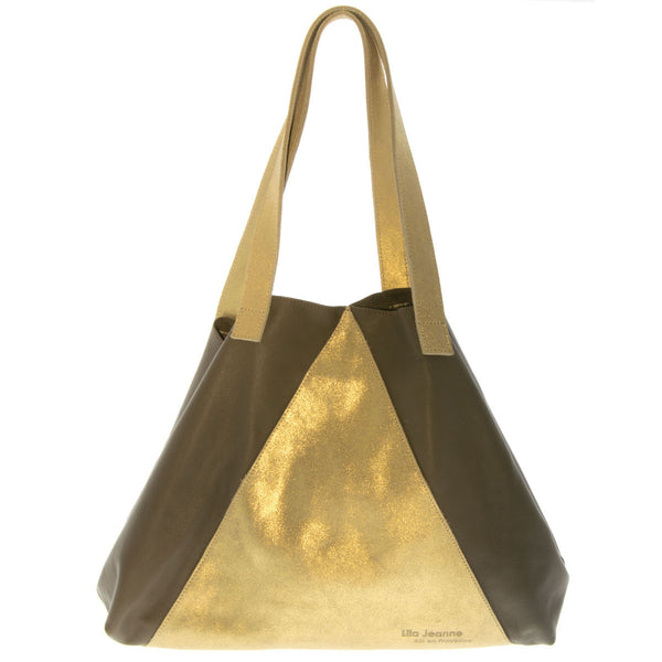 Bicolor Khaki and Gold Leather Tote Bag Vanessa Lila Jeanne