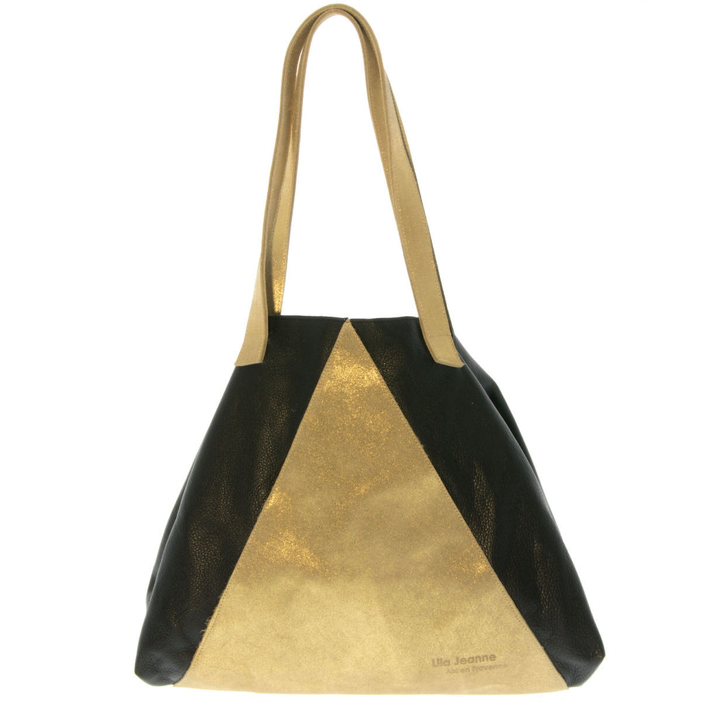 Bicolor Black and Gold Leather Tote Bag Vanessa Lila Jeanne