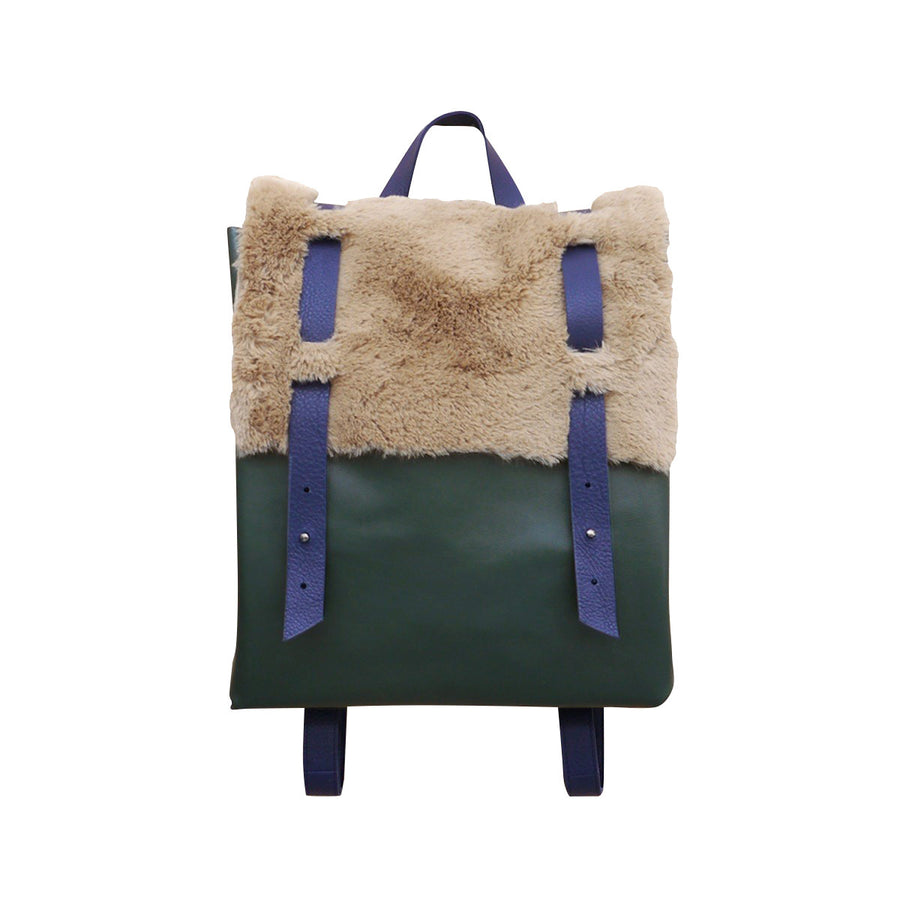 Green Leather Backpack Fur Cover Ffil - FFIL