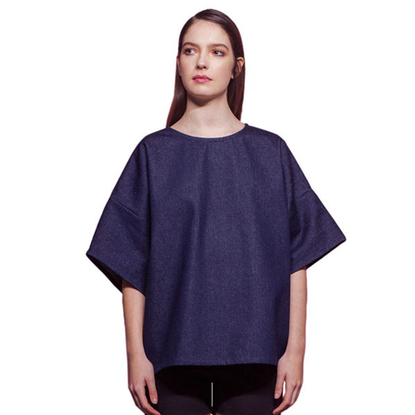 Structured Navy Denim Blouse Made In Paris