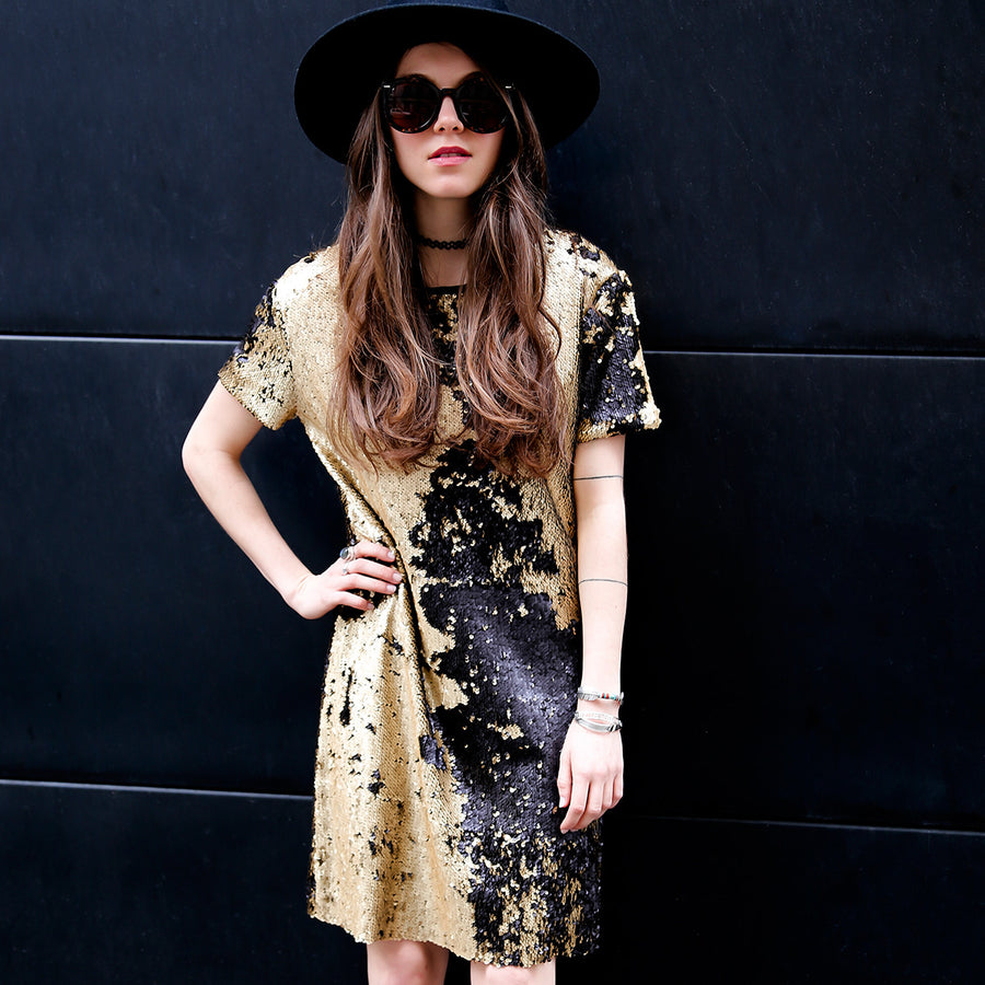 Reversible Gold and Black Sequins Dress Bund Floriane Fosso - Floriane Fosso