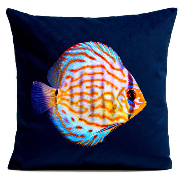 Arpilo Cushion Cover Miss Orange - Deep Blue Velvet - Artpilo
