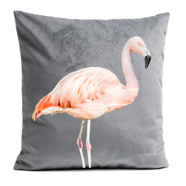 Artpilo Cushion Cover Pink Flamingo - Soft Grey Velvet - Artpilo