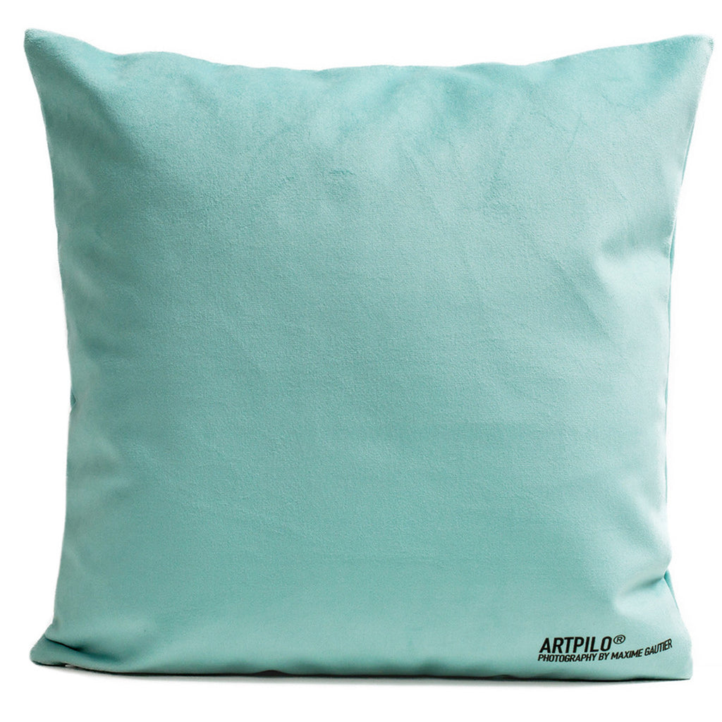 Artpilo Cushion Cover Pink Flamingo - Soft Green Velvet - Artpilo